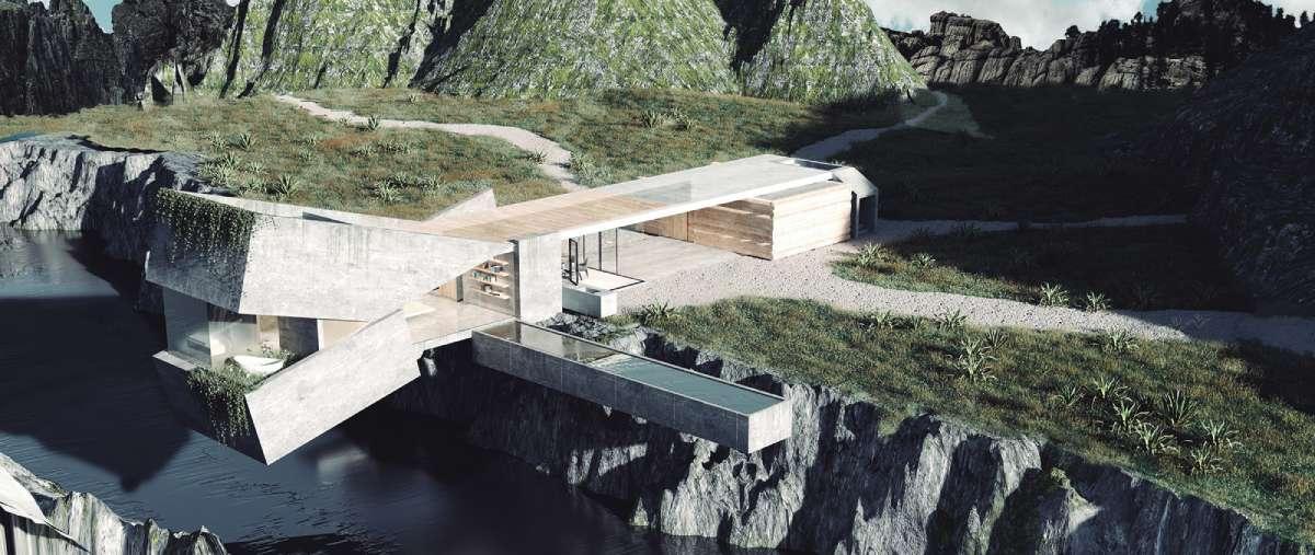 Una casa de hormigón que mira al borde del acantilado